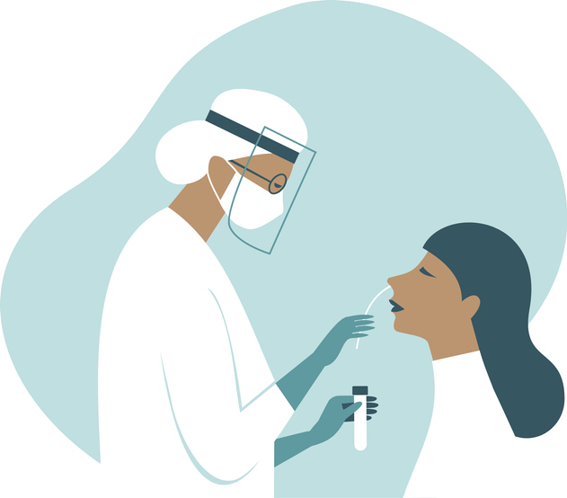 Coronavirus COVID-19 diagnostics. Doctor wearing full antiviral protective gear  making nasal swab test for patient. Flat vector illustration.